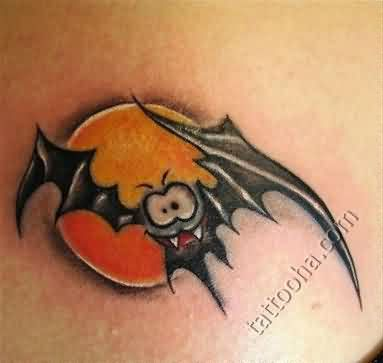 Sharp teeth bat in front of moon tattoo for Bat moon tattoo