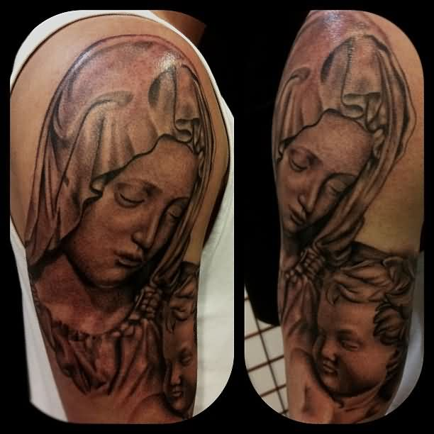 Mother Mary And Baby Tattoo