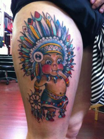 Native American Baby Boy Tattoo On Thigh