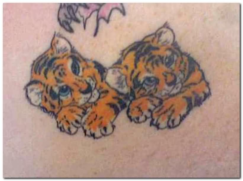 Nice Baby Tigers Tattoo Design