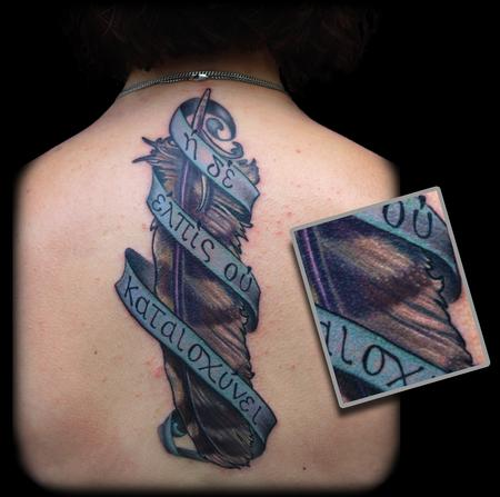 Owl Feather Banner Tattoo On Back