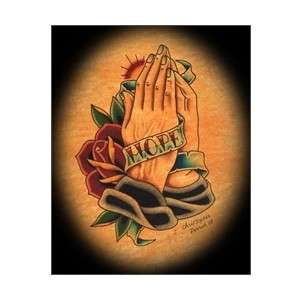 Praying Hands With Banner Tattoo Design