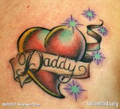Red Heart Daddy Banner Tattoo Design