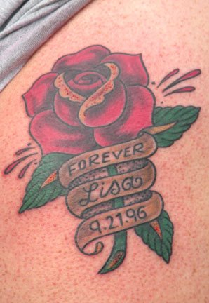 roses and memorable banner tattoo graphic. Black Bedroom Furniture Sets. Home Design Ideas
