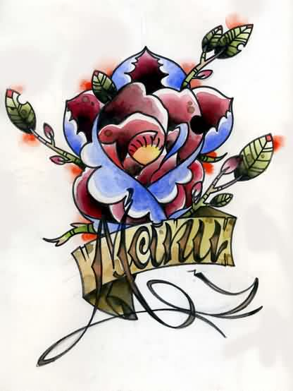 Rose With Manu Banner Tattoo Design