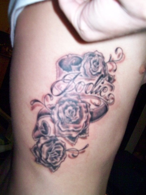 Roses With Banner Tattoo