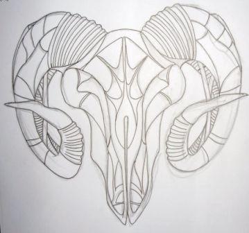 fb644adc9 Simple Aries Face Tattoo Design