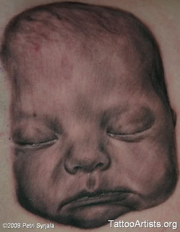Simple Baby Portrait Tattoo Design