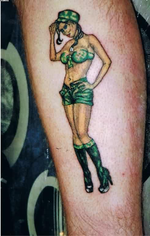 army girl wearing sexy green dress tattoo. Black Bedroom Furniture Sets. Home Design Ideas