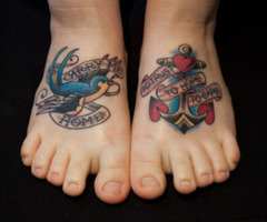 Swallow Anchor With Banner Tattoo On Feet