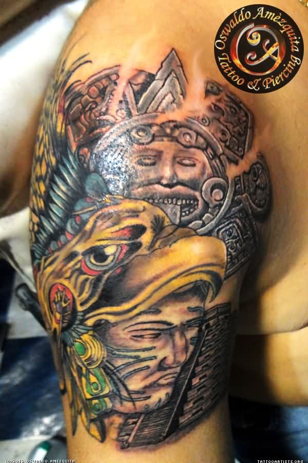 Charming Colored Aztec Tattoos On Arm