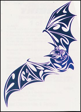 Tribal Blue Bat Tattoo Design