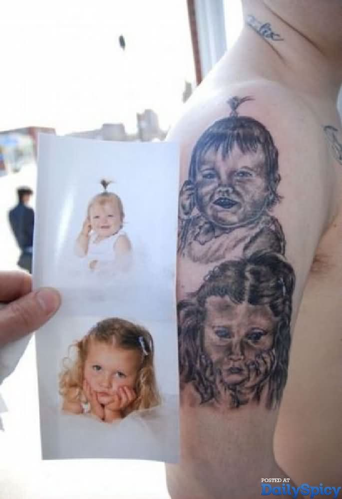 Ugly Baby Girls Tattoo Designs