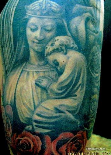 Virgin Mary with Jesus Baby Tattoo