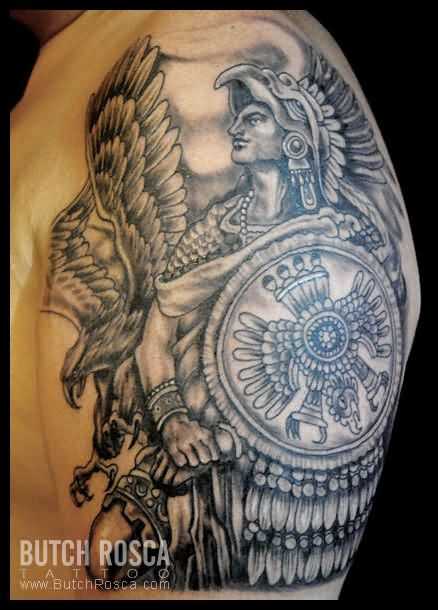mexican aztec and eagle tattoos on arm. Black Bedroom Furniture Sets. Home Design Ideas