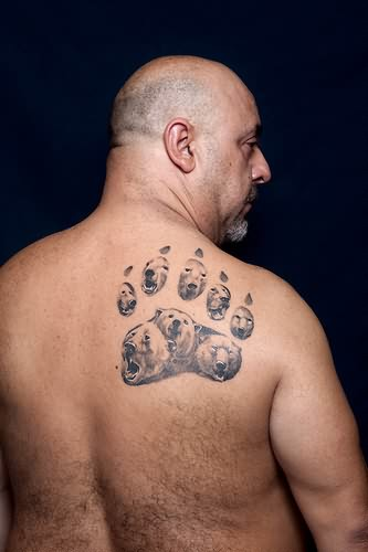 Fabulous bear paw back shoulder tattoo for men for Pictures of bear paw tattoos