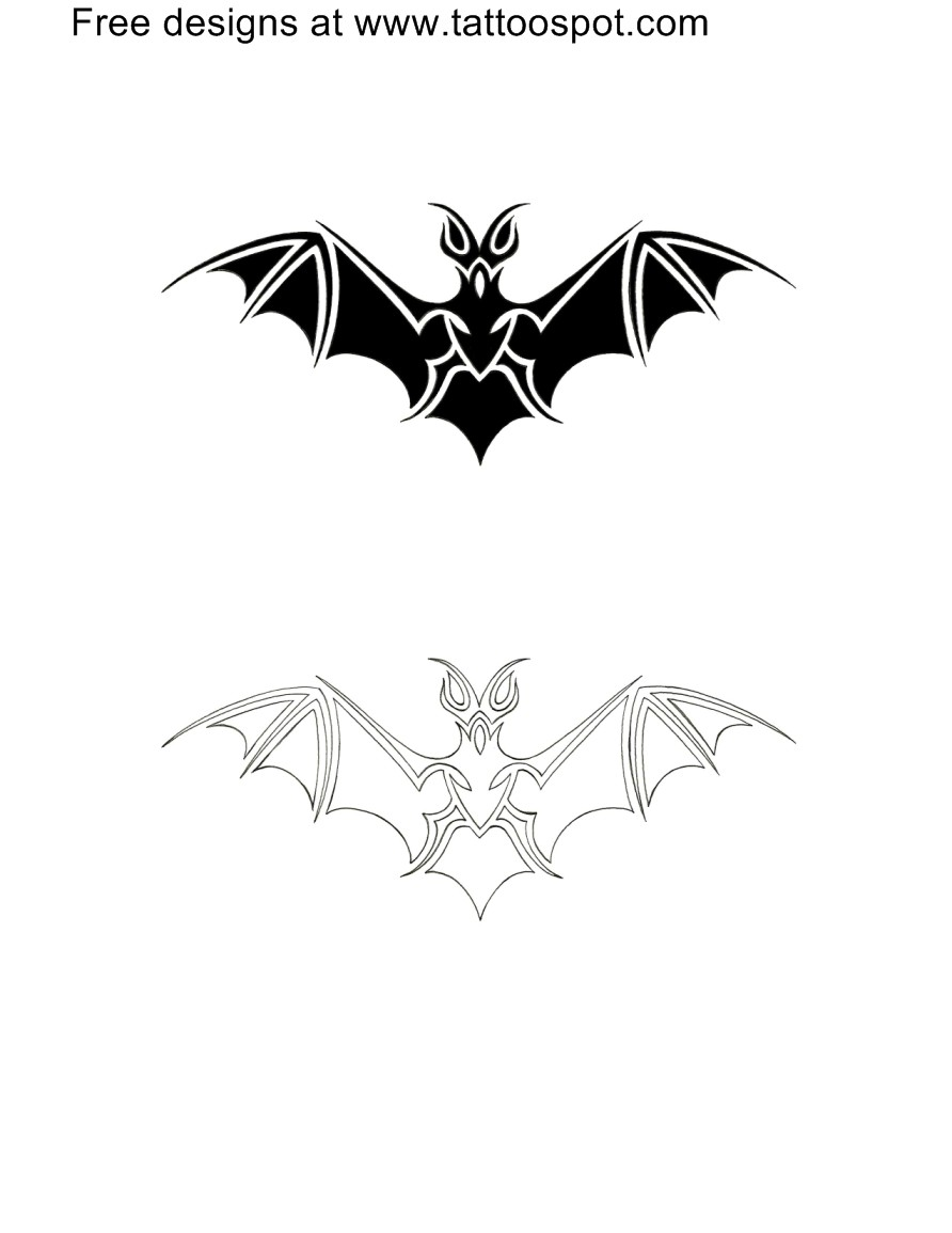 black and outine tribal bat tattoo designs. Black Bedroom Furniture Sets. Home Design Ideas