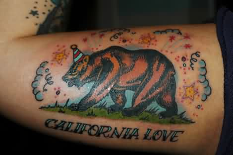 Clouds and brown bear tattoo on inner arm for California bear tattoos