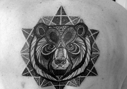 Black And White Geometric Bear Head And Mandala Tattoo ...