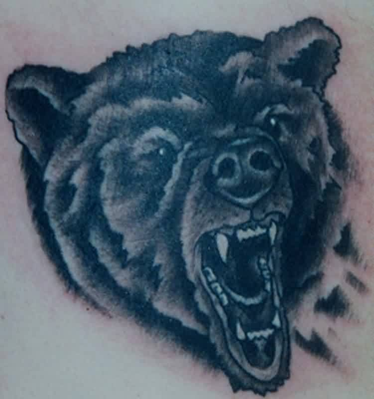 596ef8273 Grey Ink Angry Bear Face Tattoo On Whole Back