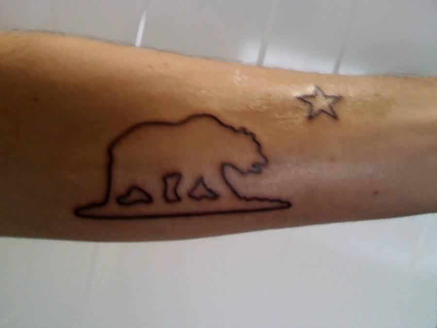 outline california bear and tiny star tattoo on forearm. Black Bedroom Furniture Sets. Home Design Ideas