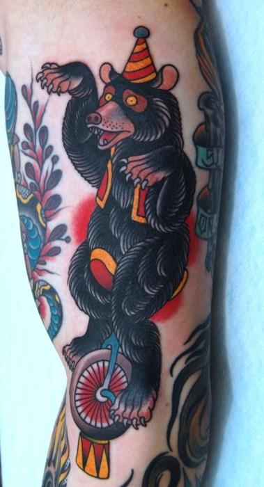 Tattoo Of Circus Bear On Arm