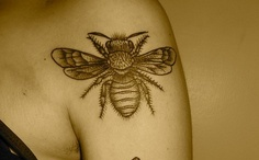 Beautiful Bee Tattoo On Shoulder For Women