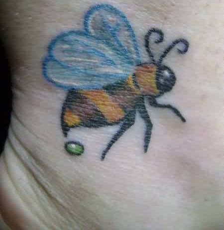 Beautiful Blue Winged Bee And Green Dot Tattoo