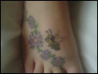 Bee And Flower Vine Tattoo On Foot