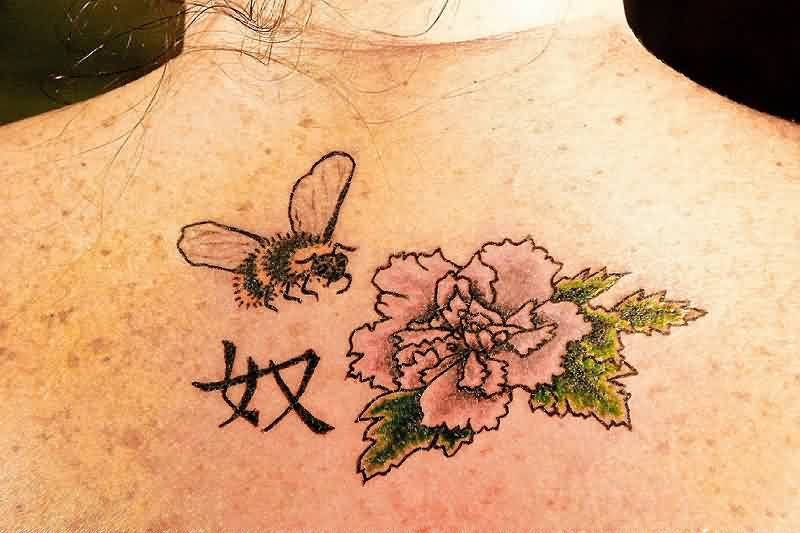 Bee Chinese Symbol And Flower Tattoo On Upperback Tattooshunter