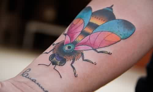 Bee With Colorful Wings Tattoo On Wrist