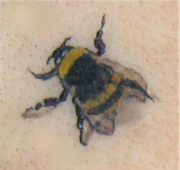 Black And Yellow Bumblebee Tattoo