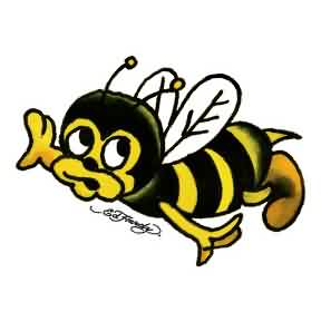 Black And Yellow Cartoon Bee Tattoo Design