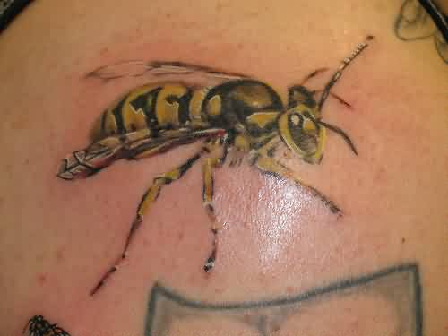 Black And Yellow Ink Bee Tattoo