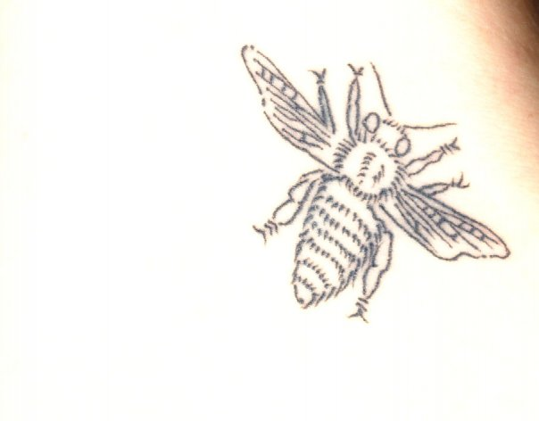 Black Line Bee Tattoo