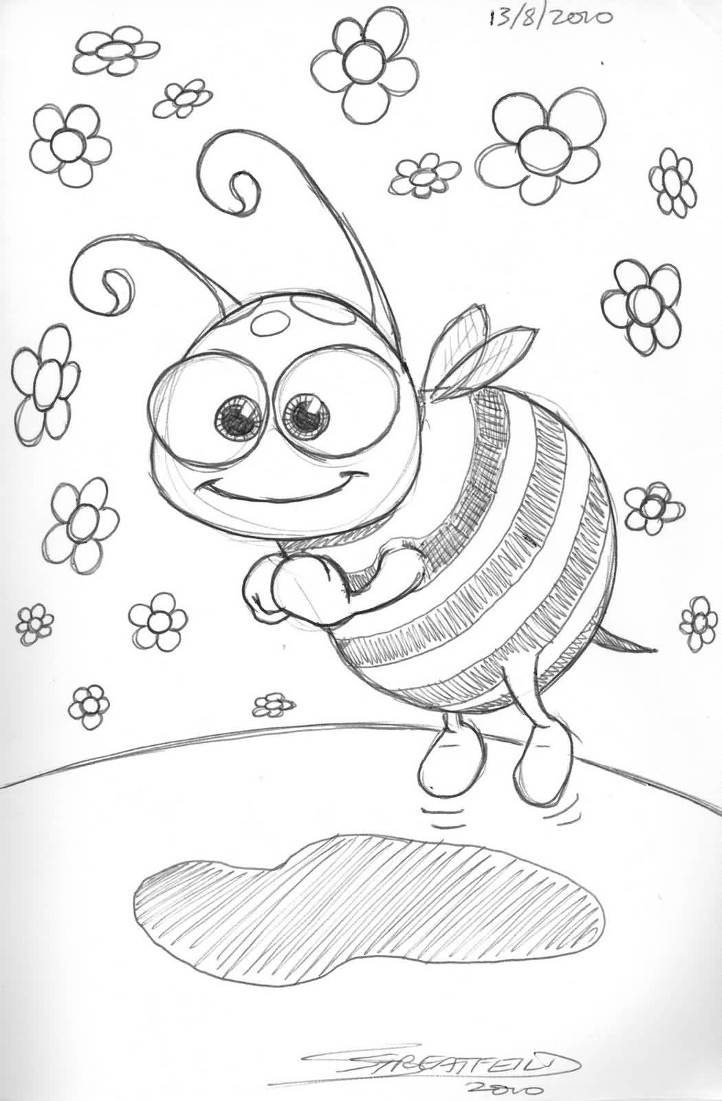 Cartoon Bee And Flowers Tattoo Drawing