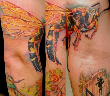 Colorful Bee Tattoo