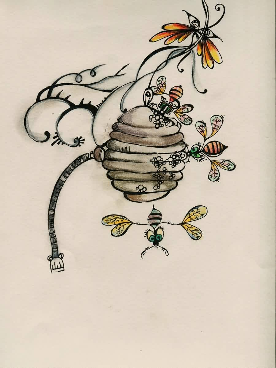 Colorful Bees And Hive Tattoo Design
