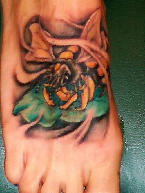 Flames Bee And Leaf Tattoo For Men