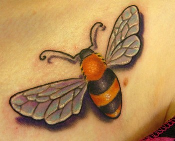 Gorgeous 3D Bee Tattoo