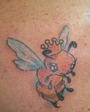 Gorgeous Bee Wearing Queen Crown Tattoo