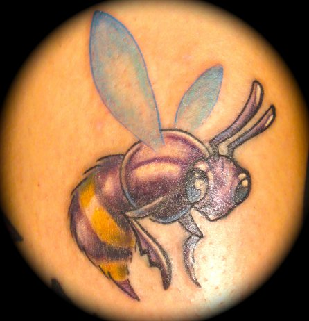 Gorgeous Purple Bee Tattoo