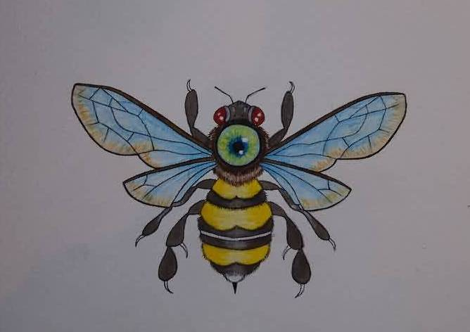 Green Eye Bee Tattoo Design On White Page