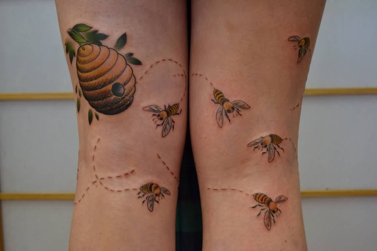 Hive And Honey Bees Tattoo On Legs