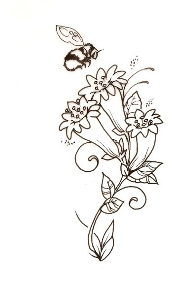 Little Bee And Flowers Tattoo Sample
