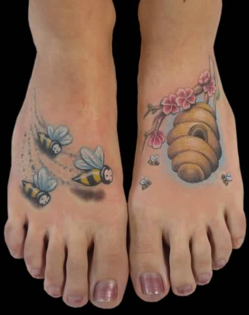 Little Bees And Hive Tattoo On Feet For Women