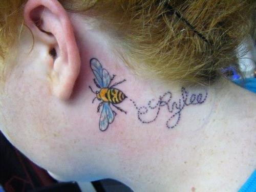 Lovely Bee And Name Tattoo On Neck