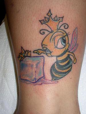 Melting Ice And Bee Wearing Crown Tattoo