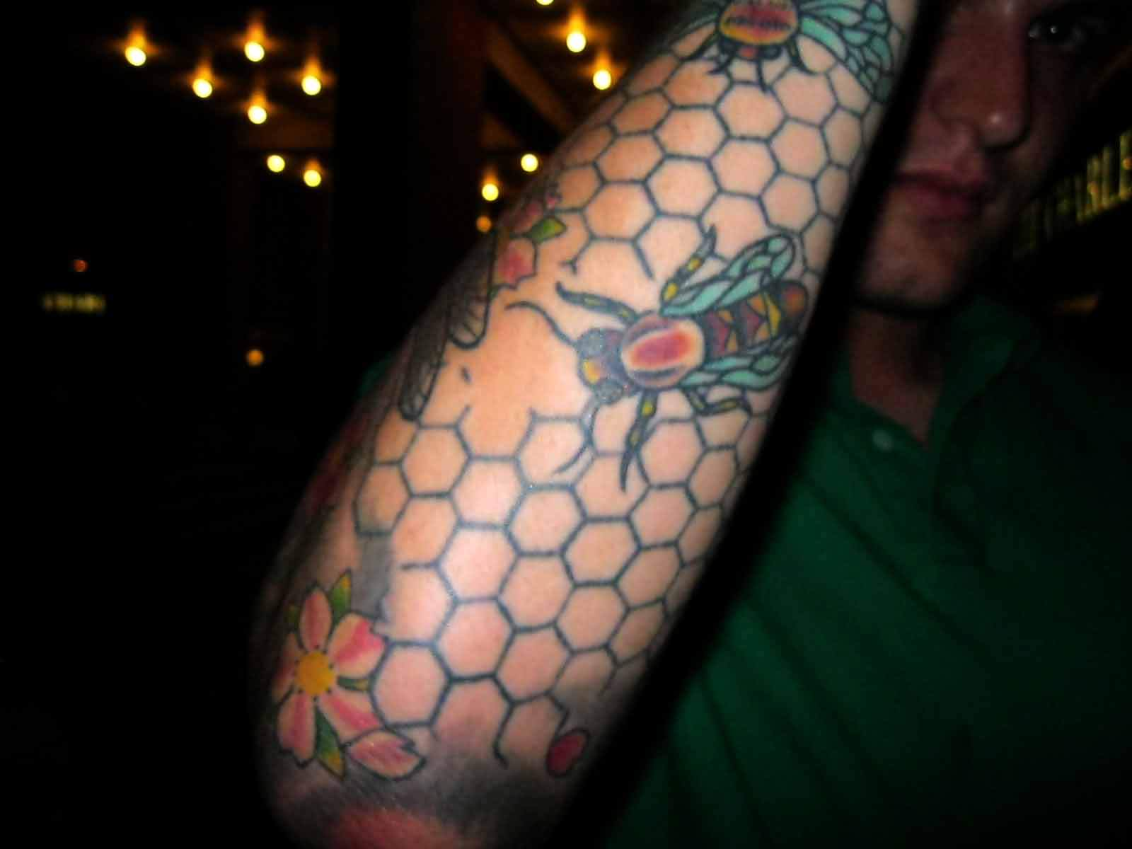 My Colorful Bees And Flower Tattoo On Arm