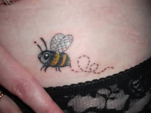 My Little Bee Tattoo On Hip
